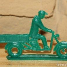 Figuras de Goma y PVC: PIPERO - FIGURA SEMIPLANA - SEÑOR EN MOTOCARRO - VERDE - PLASTICO - AÑOS 60 - MOTO MOTOCICLISTA. Lote 176463894