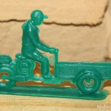 Figuras de Goma y PVC: PIPERO - FIGURA SEMIPLANA - SEÑOR EN MOTOCARRO - VERDE - PLASTICO - AÑOS 60 - MOTO MOTOCICLISTA. Lote 176463909