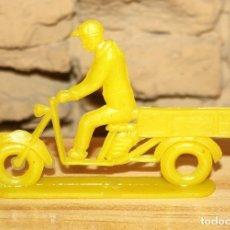 Figuras de Goma y PVC: PIPERO - FIGURA SEMIPLANA - SEÑOR EN MOTOCARRO - AMARILLO - PLASTICO - AÑOS 60 - MOTO MOTOCICLISTA. Lote 176466802