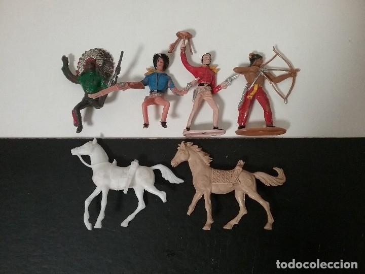 COMANSI 2ª ÉPOCA: LOTE OESTE DE INDIOS Y COWBOYS/VAQUEROS + 2 CABALLOS. ORIGINALES AÑOS 70. PTOY (Juguetes - Figuras de Goma y Pvc - Comansi y Novolinea)