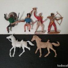 Figuras de Goma y PVC: COMANSI 2ª ÉPOCA: LOTE OESTE DE INDIOS Y COWBOYS/VAQUEROS + 2 CABALLOS. ORIGINALES AÑOS 70. PTOY. Lote 112059595