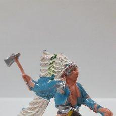 Figuras de Goma y PVC: GUERRERO INDIO . REALIZADO POR OLIVER . AÑOS 60 / 70. Lote 176888770