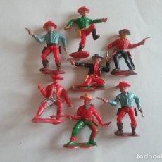 Figuras de Goma y PVC: CRESCENT TOYS: 7 ANTIGUOS VAQUEROS/COWBOYS, FIGURAS DEL OESTE AÑOS 60-70.NO TIMPO O BRITAINS.PTOY. Lote 41541850
