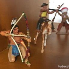 Figuras de Goma y PVC: FIGURAS DEL OESTE.INDIOS Y VAQUEROS.. Lote 177038638