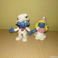 Figuras de Goma y PVC: LOTE FIGURAS PVC PITUFOS NOVIOS SCHLEICH PEYO DESCATALOGADOS PITUFO PITUFINA IDEAL TARTAS BODA. Lote 177389204