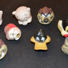 Figuras de Goma y PVC: LOONEY TUNES -11 CABEZAS - CAPUCHAS LAPICERO - BUGS, SILVESTRE, LUCAS, ELMER .... Lote 178300048