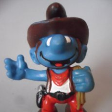Figuras de Goma y PVC: LOS PITUFOS SMURFS PITUFO CAWBOY PVC PEYO SCHLEICH MADE IN PORTUGAL 1981. Lote 178789450