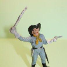Figuras de Goma y PVC: FIGURA DEL OESTE. OFICIAL SOLDADO CONFEDERADO. TRAJE GRIS. PERFECTO. AÑOS 60-70. PINTURA ORIGINAL. Lote 178899145