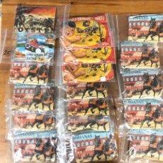 Figuras de Goma y PVC: LOTE DE 18 SOBRES SORPRESA MONTAPLEX VARIOS LEGIONES ROMANAS, OESTE, MONTAMAN CUBA, BATALLAS. Lote 178989311