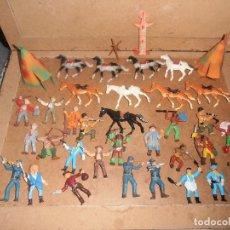 Figuras de Goma y PVC: LOTE SOLDADOS , INDIOS Y VAQUEROS COMANSI. Lote 151238226