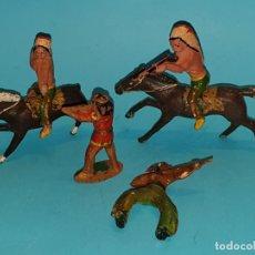 Figuras de Goma y PVC: LOTE FIGURAS INDIOS DE ALCA/CAPELL, EN GOMA, DE 54MM., AÑOS 40. (TIPO JECSAN, PECH, REAMSA). Lote 179153933