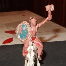 Figuras de Goma y PVC: INDIO DE LAFREDO,CON CABALLO,GOMA,AÑOS 60. Lote 179256265