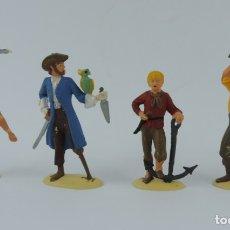 Figuras de Goma y PVC: 4 FIGURAS DE PIRATAS DE PECH, REALIZADOS EN PLASTICO, BUEN ESTADO, MIDEN 7 CMS. APROX.. Lote 179942671