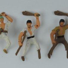 Figuras de Goma y PVC: 5 FIGURAS DE PIRATAS, PIRATA PATA PALO, LATIGO, PALA, MIDEN 7 CMS. APROX.. Lote 179945703