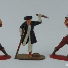 Figuras de Goma y PVC: 3 FIGURAS DE PIRATAS, PIRATA PATA PALO, MIDEN 7 CMS.. Lote 179947056