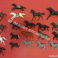Figuras de Goma y PVC: LOTE DE ANTIGUOS CABALLOS PARA INDIOS Y COW-BOYS. Lote 180008071