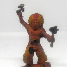 Figuras de Goma y PVC: LAFREDO O JECSAN GUERRERO INDIO DE 4CMS Nº3 FABRICADO EN GOMA EN LOS AÑOS 50 FAR WEST OESTE. Lote 180898368