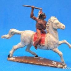 Figuras de Goma y PVC: ANTIGUAS FIGURAS DEL OESTE EN GOMA. INDIO A CABALLO DE GAMA. AÑOS 50/60. Lote 181152763