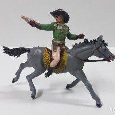 Figuras de Goma y PVC: VAQUERO - COWBOY A CABALLO . REALIZADO POR PECH . AÑOS 50 EN GOMA. Lote 181693232