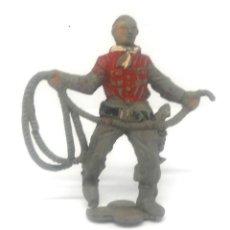 Figuras de Goma y PVC: VAQUERO O COW BOY CON LAZO FABRICADO EN GOMA POR TEIXIDO EN LOS 50. Lote 182064410