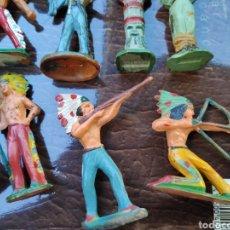 Figuras de Goma y PVC: LOTE FIGURAS ANTIGUAS STARLUX INDIOS. Lote 182261470