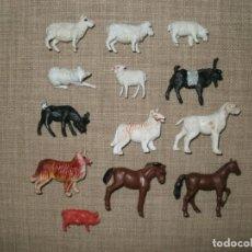 Figuras de Goma y PVC: LOTE DE ANIMALES DE GRANJA DE PLASTICO MADE IN HONG KONG. Lote 182276775