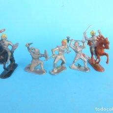 Figuras de Goma y PVC: 6 GUERREROS Y DOS CABALLOS DE LA CASA ALEMANA JEAN. REAMSA, PECH JECSAN.. Lote 182484546