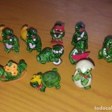 Figuras Kinder: 10 FIGURAS KINDER: MUÑECOS KINDER SORPRESA HUEVO FERRERO TORTUGAS TORTUGA TINY TURTLES. Lote 182610033