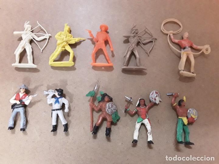 LOTE INDIOS VAQUEROS GOMA COMANSI (Juguetes - Figuras de Goma y Pvc - Comansi y Novolinea)