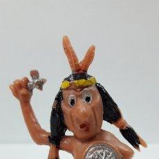 Figuras de Goma y PVC: GUERRERO INDIO . SERIE LOS BOYBIS . REALIZADO POR JECSAN . AÑOS 60. Lote 182891076