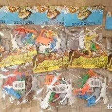 Figuras de Goma y PVC: OCASION COLECCIONISTAS ! LOTE 10 BOLSAS BLISTERS NUEVOS SIN ABRIR INDIOS Y COWBOYS GOMARSA AÑOS 80. Lote 195468267