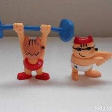 Figuras de Goma y PVC: 2 FIGURAS MASCOTA COBI. COMANSI. 1992. OLIMPIADAS. HALTEROFILIA Y NATACION. Lote 183293147