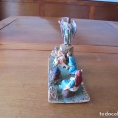Figuras de Goma y PVC: LOTE DE ANTIGUAS FIGURAS DE PLÁSTICO PARA PORTAL DE BELÉN: ÁNGEL ANUNCIACIÓN Y PASTORES, DIORAMA.. Lote 183345451