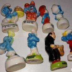 Figuras de Goma y PVC: LOTE 8 MINI FIGURA MUÑECO CERAMICA VIDRIADA LOS PITUFOS PAPA GARGAMEL INEDITO EN TC PEYO GRUÑÓN ETC. Lote 183422238