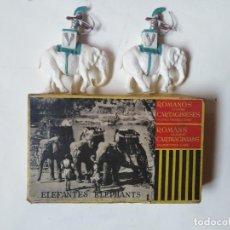 Figuras de Goma y PVC: CAJA CARTAGINESES ROJA Y MALARET CON ELEFANTES. ORIGINAL. PECH JECSAN.. Lote 254455230
