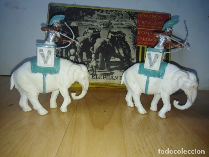 Figuras de Goma y PVC: Caja Cartagineses Roja y Malaret con elefantes. Original. Pech Jecsan. - Foto 8 - 254455230