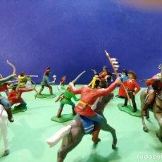 Figuras de Goma y PVC: INDIOS APACHES VS. COWBOYS. GUERRA EN LA RESERVACIÓN. GOMARSA. Lote 183823121