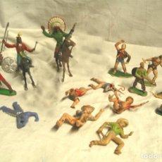 Figuras de Goma y PVC: LOTE 17 FIGURAS, 2 CABALLOS, 4 INDIOS, 8 COWBOYS, 1 SHERIFF Y 1 MUJER COWBOY. Lote 183833032