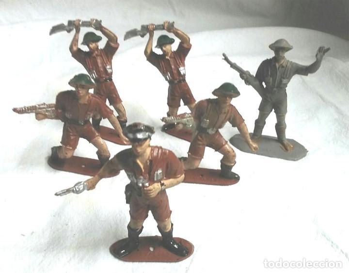 6 FIGURAS EJERCITO INGLÉS, OFICIAL Y 5 SOLDADOS DE COMANSI (Juguetes - Figuras de Goma y Pvc - Comansi y Novolinea)