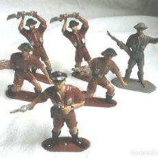 Figuras de Goma y PVC: 6 FIGURAS EJERCITO INGLÉS, OFICIAL Y 5 SOLDADOS DE COMANSI. Lote 183833572