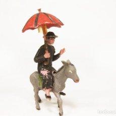 Figuras de Goma y PVC: FIGURA DE PLÁSTICO JECSAN DE UN CURA MONATADO EN UN BURRO. Lote 183833615