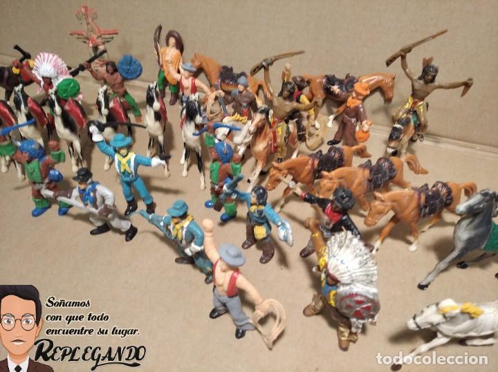 Figuras de Goma y PVC: LOTE 37 FIGURAS COMANSI (INDIOS, VAQUEROS, SOLDADOS Y CABALLOS) - Foto 9 - 183588582