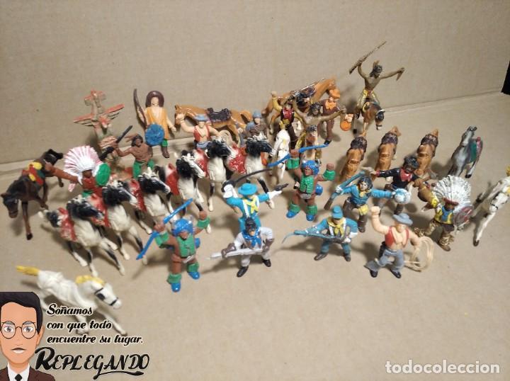 Figuras de Goma y PVC: LOTE 37 FIGURAS COMANSI (INDIOS, VAQUEROS, SOLDADOS Y CABALLOS) - Foto 11 - 183588582