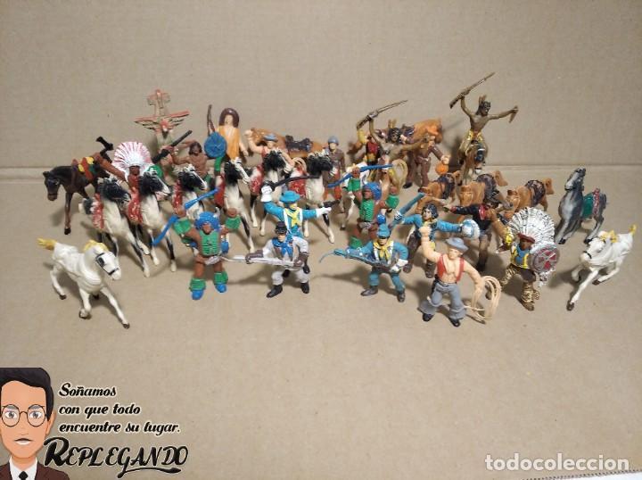 Figuras de Goma y PVC: LOTE 37 FIGURAS COMANSI (INDIOS, VAQUEROS, SOLDADOS Y CABALLOS) - Foto 12 - 183588582