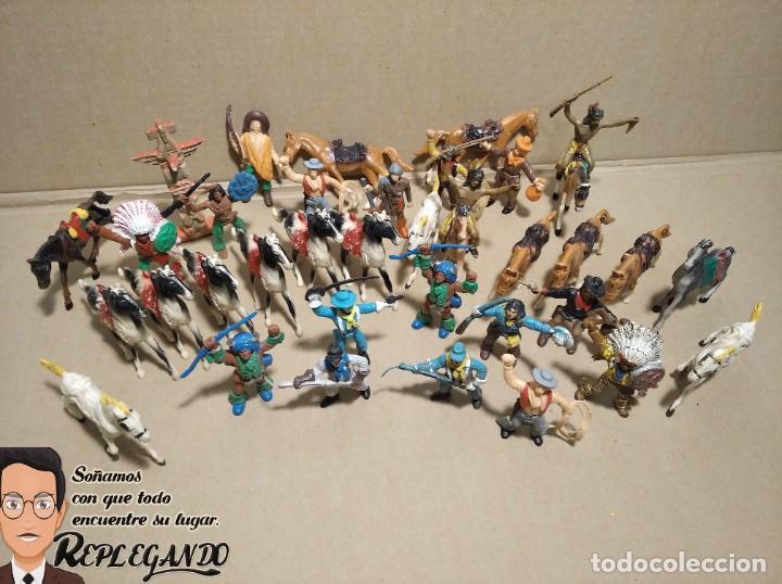 Figuras de Goma y PVC: LOTE 37 FIGURAS COMANSI (INDIOS, VAQUEROS, SOLDADOS Y CABALLOS) - Foto 13 - 183588582