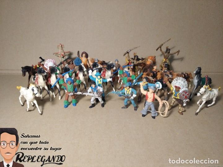 Figuras de Goma y PVC: LOTE 37 FIGURAS COMANSI (INDIOS, VAQUEROS, SOLDADOS Y CABALLOS) - Foto 2 - 183588582