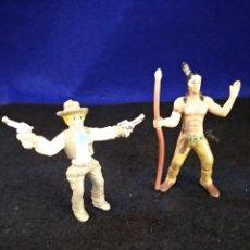 Figuras de Goma y PVC: 2 FIGURAS INDIO Y VAQUERO, COMANSI. Lote 183895642