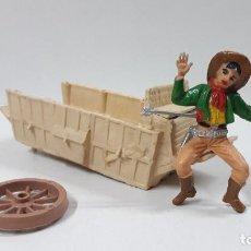 Figuras de Goma y PVC: VAQUERO - COWBOY HERIDO PARA CARRETA CON COMPLEMENTOS . REALIZADOS POR COMANSI . AÑOS 60. Lote 184175005