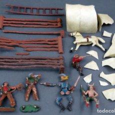 Figuras de Goma y PVC: LA CONQUISTA DEL OESTE REAMSA LOTE FIGURAS Y ELEMENTOS ROTOS PLÁSTICO AÑOS 60. Lote 184440858