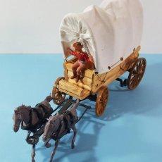 Figuras de Goma y PVC: LA CARAVANA DEL OESTE COMANSI MADERA, PLASTICO Y TELA CON 2 CABALLOS Y CONDUCTOR, CARRETA. Lote 184554118